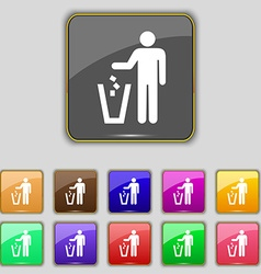 Throw away the trash icon sign set with eleven vector