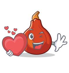 with heart red kuri squash mascot cartoon vector image
