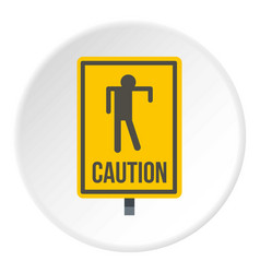 Yellow caution zombie sign icon circle vector