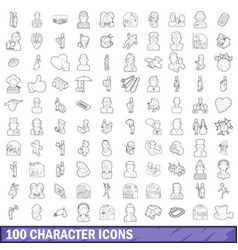 100 character icons set outline style vector