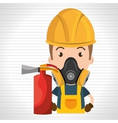 Man mask extinguisher icon vector