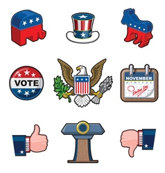 Nine american elections icons vector