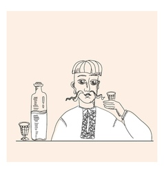 Man and vodka in peasant style vector
