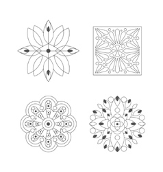 Regular shape four doodle ornamental figures in vector