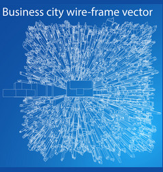 Wire-frame city blueprint style vector