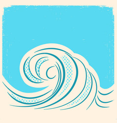 sea wave retro water wave background vector image