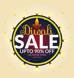 Diwali festival sale banner with light bulbs in vector