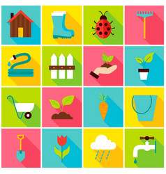 Spring gardening colorful icons vector