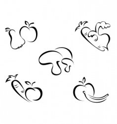 vegetables symbols vector image