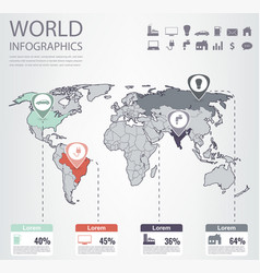 World map infographic template all countries are vector