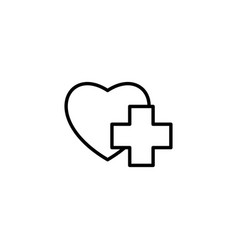 Thin line heart with medical sign icon on white vector