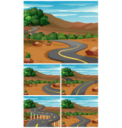 Five scenes with road to the mountains vector