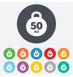 Weight sign icon 50 kilogram kg sport symbol vector