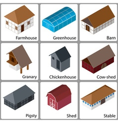 3D Farm Buildings Icons vector image