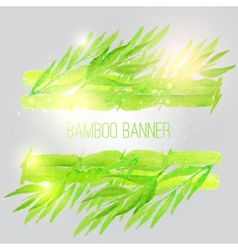 Watercolor bamboo banner with green leaves vector