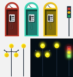 Set of phone booth lamp and traffic light vector