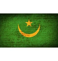 Flags mauritania with dirty paper texture vector