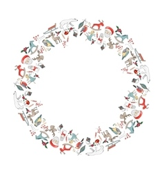 Round christmas garland with decoration isolated vector