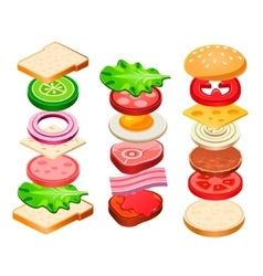 Sandwich and hamburger ingredients set vector