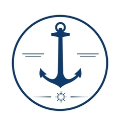 Nautical label anchor icon vector