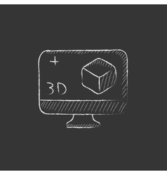Computer monitor with 3d box drawn in chalk icon vector