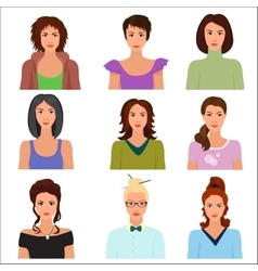 Female woman character faces avatars in vector