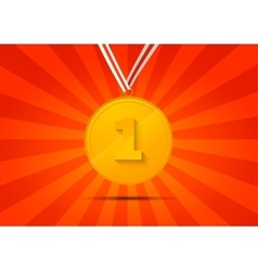 Golden medal for first place on red background vector