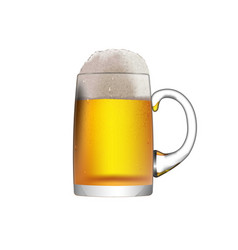 a glass mug with beer isolated on a white vector image