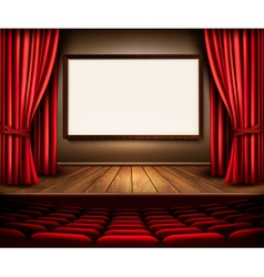 A theater stage with a red curtain seats and a vector image vector image