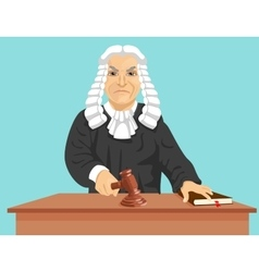 Angry judge makes verdict for law knocking gavel vector