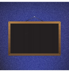 Black chalkboard with brown corners over jeans vector