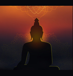 buddha silhouette with mandala on sunset blurred vector image