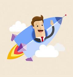 businessman on a rocket startup business concept vector image