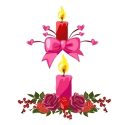 Candles decorated with buds of roses and berries vector image vector image