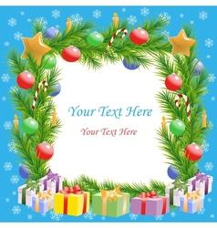 Christmas greetings Christmas tree frame with text vector image