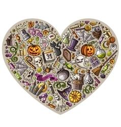 Colorful set of halloween cartoon doodle vector
