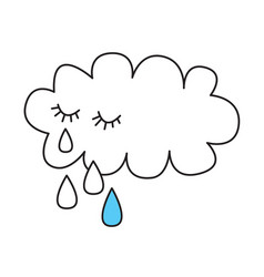 Crying cloud with tears vector