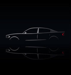 design of a silver car on a black background vector image