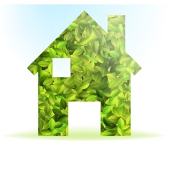 Eco house icon with green leaves eps10 vector