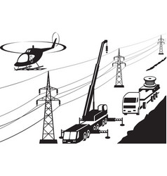 Electrical transmission line maintenance and repai vector