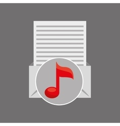 Email paper music note design vector