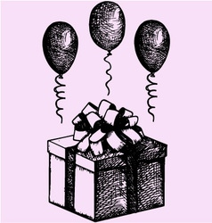 gift box balloons vector image vector image