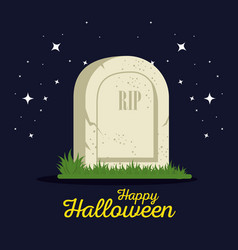gravestone halloween cartoon vector image