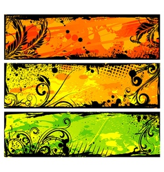 grunge floral banners set vector image vector image