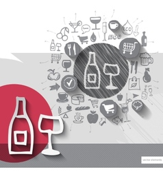 Hand drawn wine icons with food icons background vector image vector image