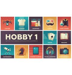 Hobby - set of flat design infographics elements vector