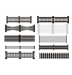 Icons of different kinds of fence vector