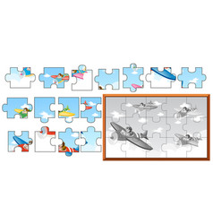 Jigsaw puzzle game with airplanes in sky vector