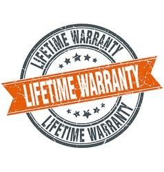 Lifetime warranty round orange grungy vintage vector