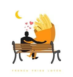 Lover french fries fastfood and people are looking vector